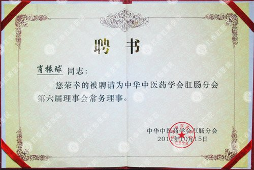 南宁医博医院荣获中华中医倁学会肛肠分会常务理事